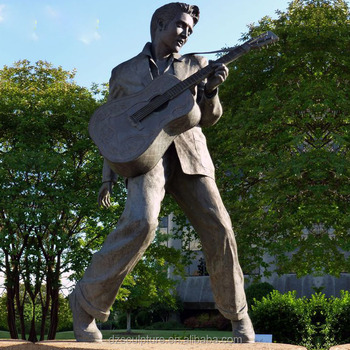Cast bronze famous America star elvis statue with guitar
