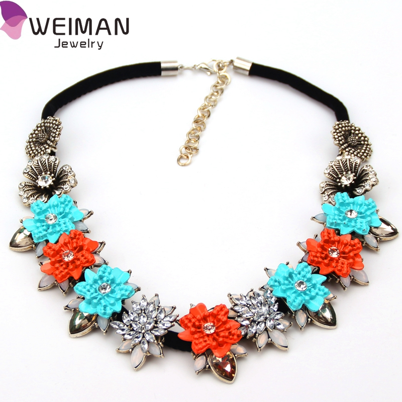 New Arrival Geometric Necklaces Rope Chain Big Crystal Pendant Choker Rib Statement Necklace