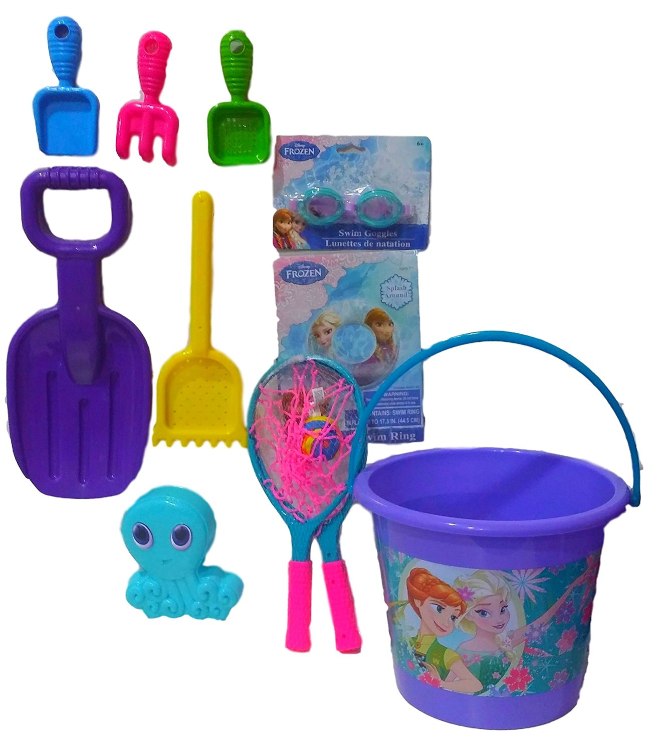Disney Frozen Anna & Elso Fun in The Sun Sand Bucket with Water Toys, Sandbox Toys, Beach/Pool Toys; Jumbo Sand Toy Set with 13 pieces!