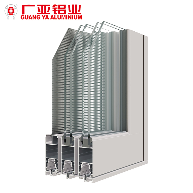 Double aluminum track glass sliding door mesh fly mosquito doors