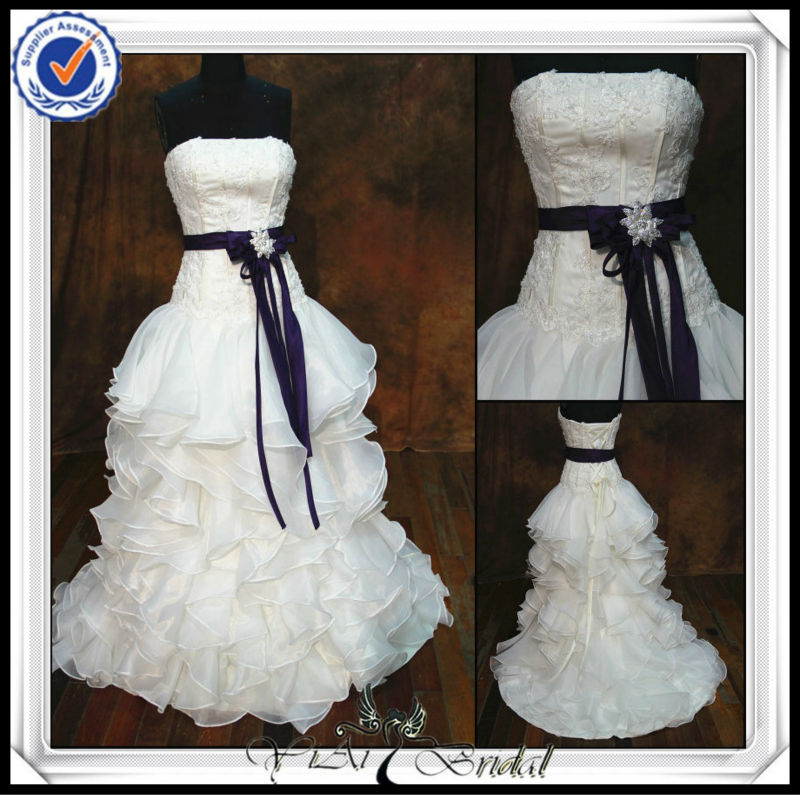 JJ0058 Ball Gown organza ruffles skirt Real Sample Wedding Dress real picture