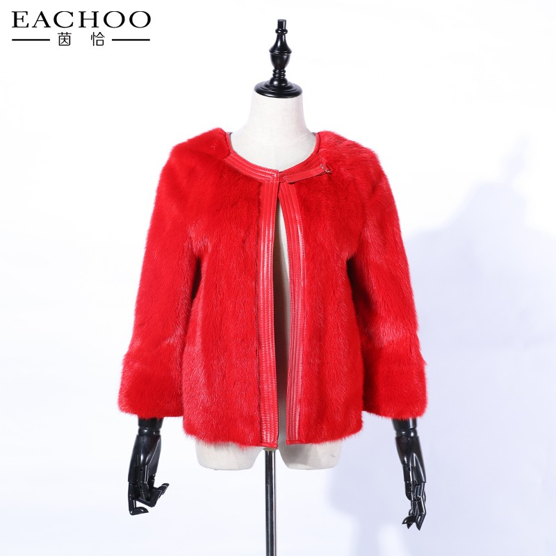 Winter new design red colour mink fur coat short coat