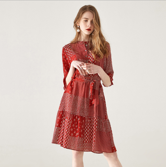 2019 Summer High Quality Waist O -neck Single Jugged Half Sleeve Loose With Band Debutante Ladies 100% <strong>Silk</strong> Floral Print <strong>Dress</strong>