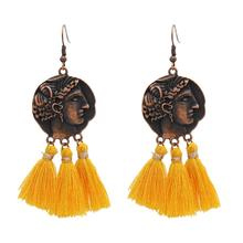 3 couleurs Bohème Vintage Bronze Alliage Fil Gland Visage Drop Dangle Boucles D'oreilles <span class=keywords><strong>Bijoux</strong></span>