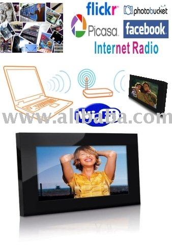 Wi-Fi Digital Photo Frames Built-in Internet Radio Support Frame Channel Flickr, Picasa