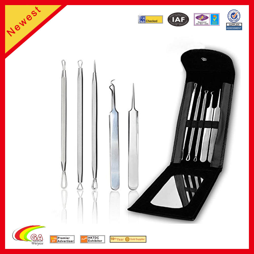 Professional Stainless Steel Comedone Leather Tool Set Nails Tool Kit