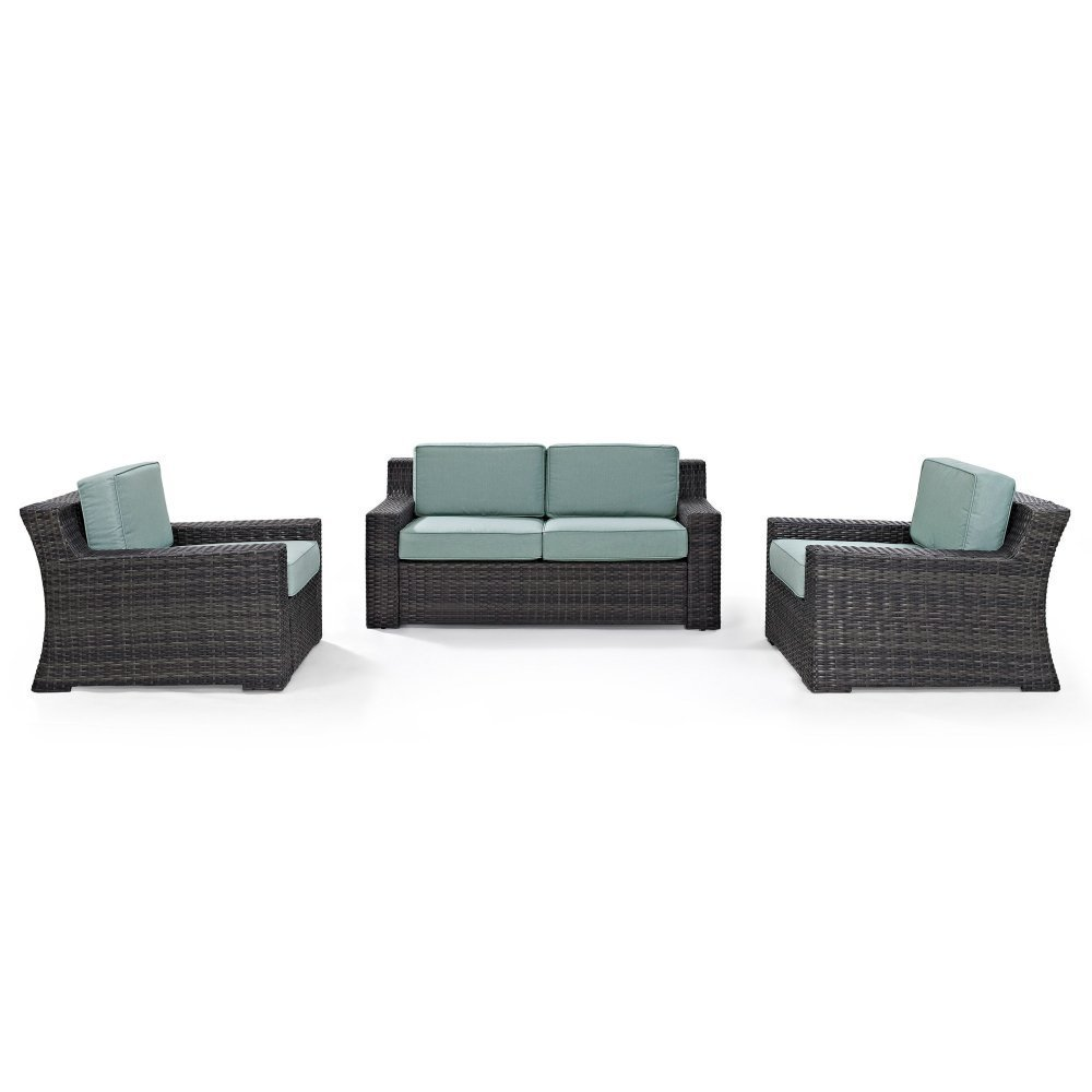 Crosley Furniture KO70098BR Beaufort 3-Piece Outdoor Wicker Seating Set with Mist Cushions-Brown