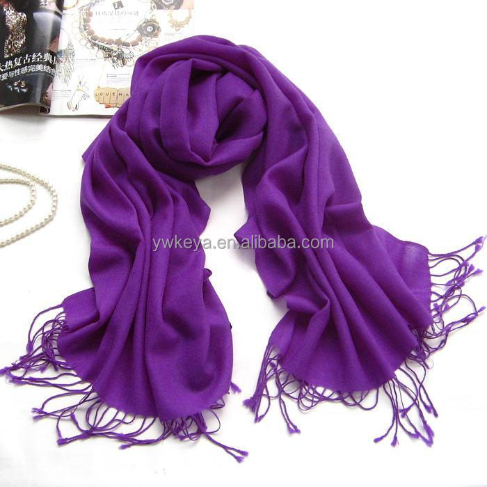 Wholesale 2016 Fringed 70% Pashmina 30% Silk Solid Color Plain Pashmina Scarf with 40 colors