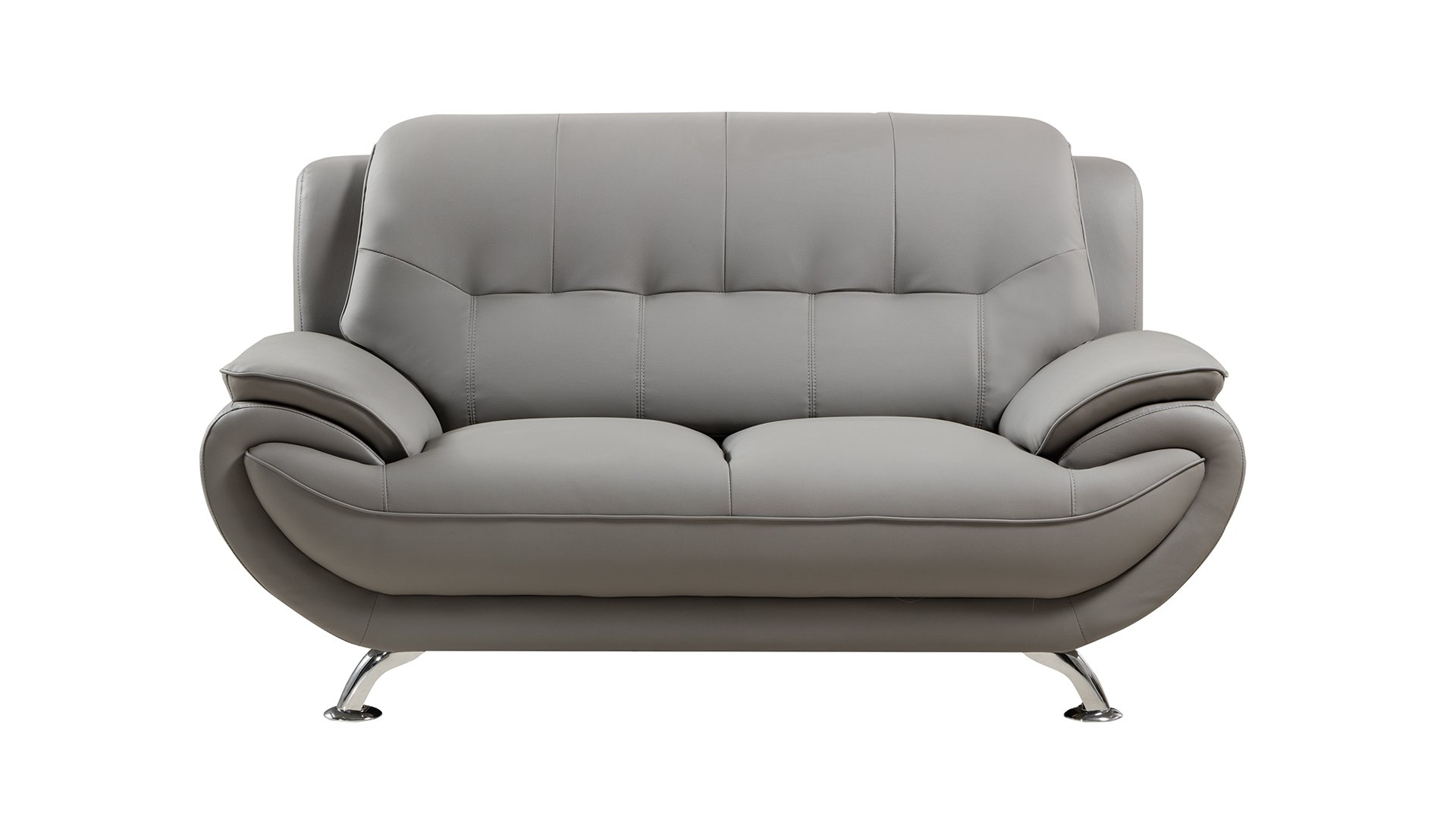 American Eagle Furniture Highland Bonded Leather Living Room Sofa Chair with Pillow Top Armrests, Gray
