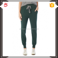 2017 Autumn Customed Women Wearing Wide Banded Modal Fleece Jogger Sweatpants with Contrasting Drawstring