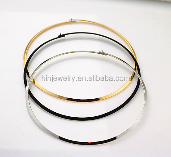 Fashion women gold metal hoop cuff choker necklace