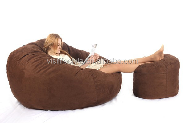 Fashion Modern Microsuede Soft Sofa Large Round Lazy 5ft Beanbag Bed Foam Filling