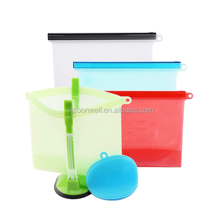 Reusable Silicone Food Storage Bag With Zip Lock Design SW-KG395