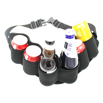 Neoprene Can Cooler Holster Belt Holds 6 Beverages Pack Holster Black Beer Belt