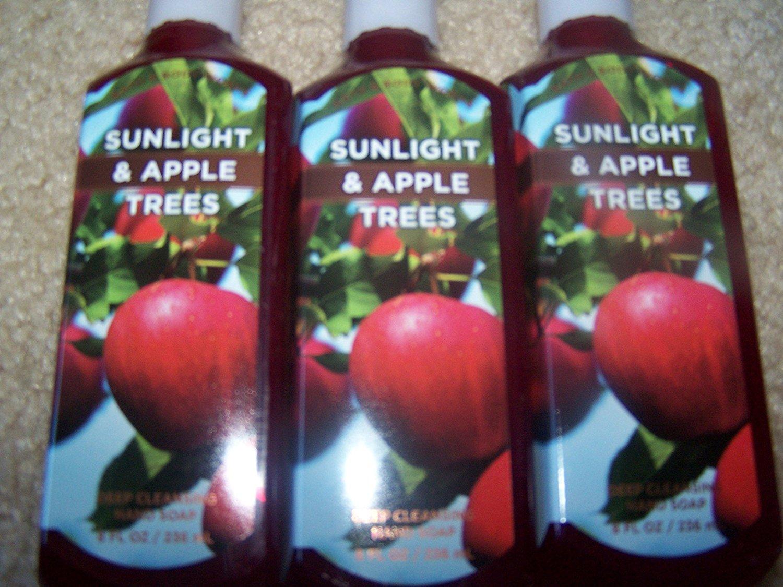 Lot of 3 Bath & Body Works Sunlight & Apple Trees Deep Cleansing Hand Soap 8 Fl Oz Each (Sunlight & Apple Trees)