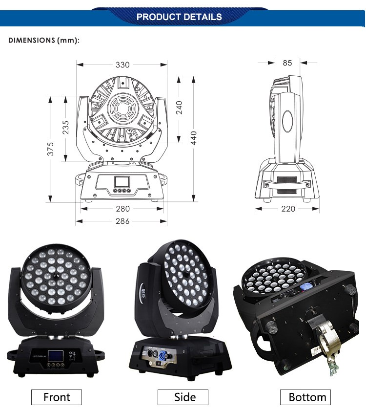 Stable rgbw zoom 36x10w 4in1 led moving head wash light