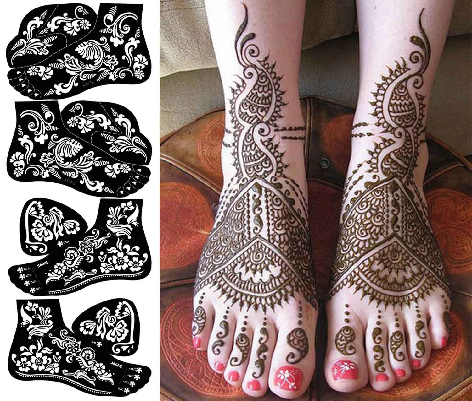 Buy COKOHAPPY 8 Sheets Hand Indian Painting Tattoo Stencil