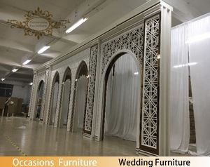 Occasions Furniture Wedding and Events Building Design White and Rose Golden Mirror Color Big Stage