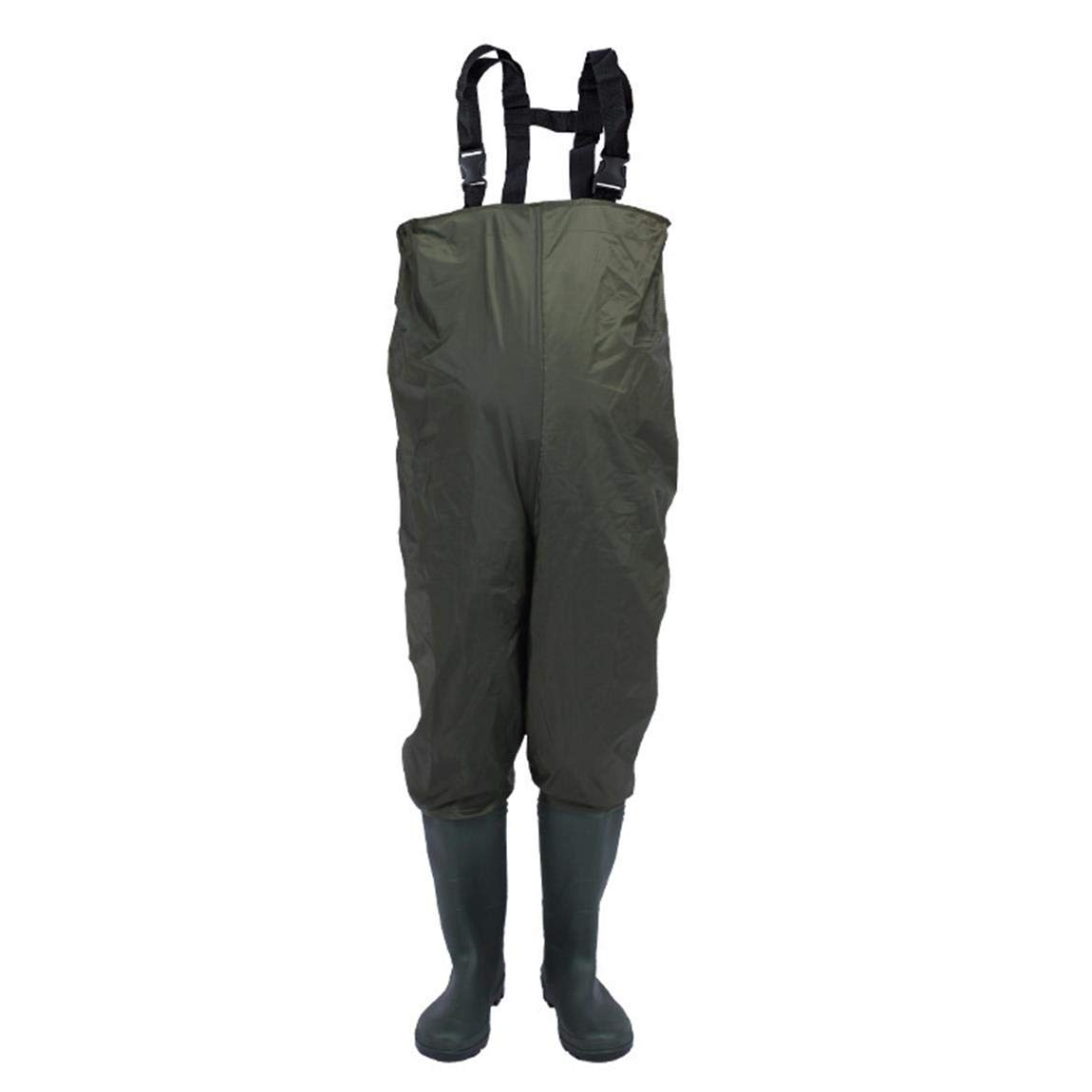 53cedeb9c63 Get Quotations · Autek Chest Wader Fishing Pants with Boots Waterproof  Breathable Army Green Loose Waders