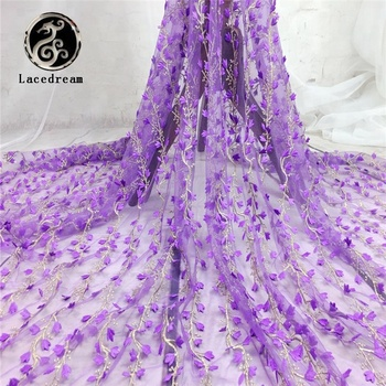 2017 New Fashion Putih Ungu Organza Tali Guipure Afrika 3d Dress Bridal Bordir Lace Kain untuk dijual