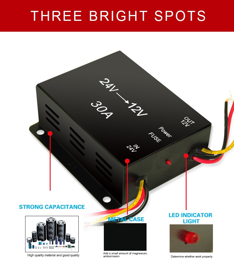 Hot Sale 360w Output 24vdc To 12vdc Dc To Dc Step Down