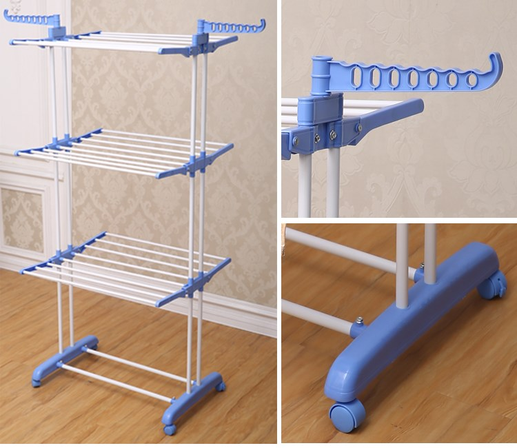 Jp Cr300w Portable Metal Trolley 3 Layer Cloth Laundry Hanging Rack