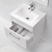 One piece white high gloss bathroom vanity