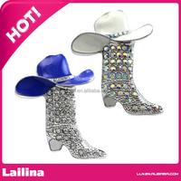Lucky Western Cowboy Boots Brooch Hat Pin Charm Enamel Jewelry