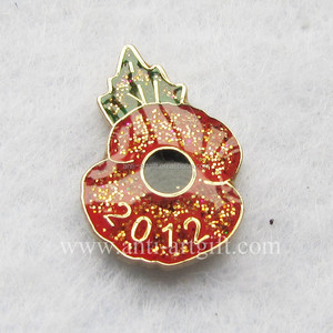 Cheap Glitter Red Poppy Enamel Badge Pins With Epoxy
