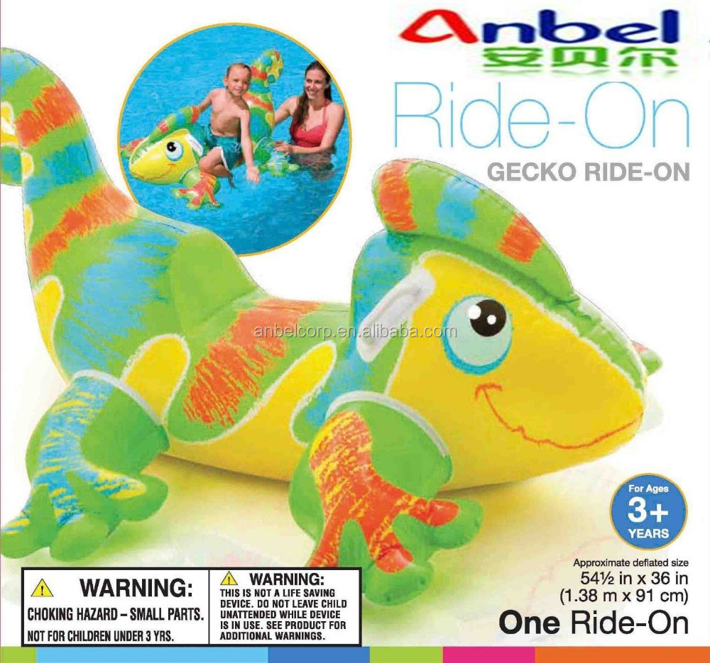 NEW! ANBEL Inflatable Raft Floating Giant Gecko Ride Pool Toys Swimming Ocean Kid Water Fun