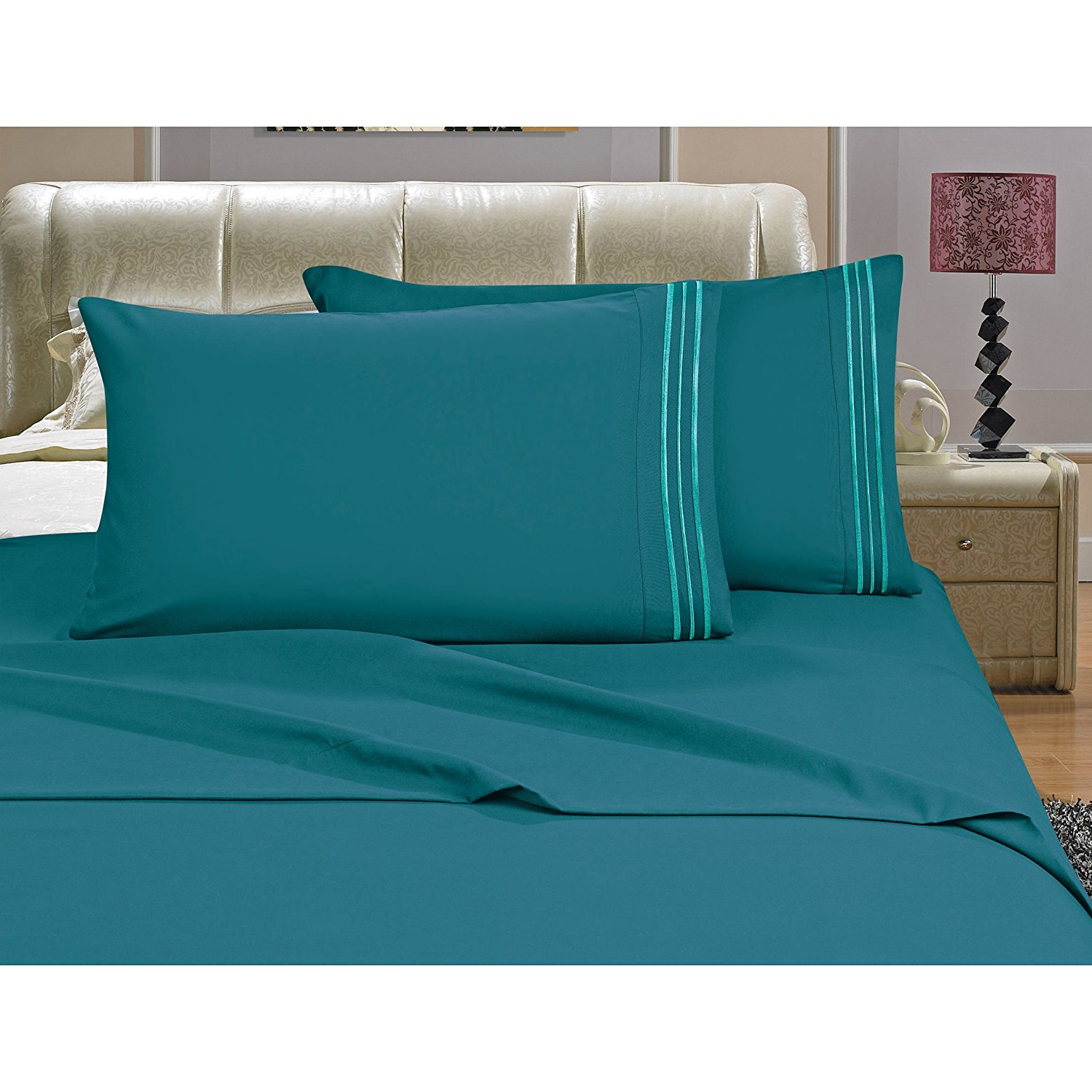 OSK 4 Piece Girls Turquoise Blue Embroidered Stripe Sheet Queen Set, Deep Blue Color Solid Pattern Design Kids Bedding, Luxurious Colorful Traditional Teen Themed, Polyester Microfiber