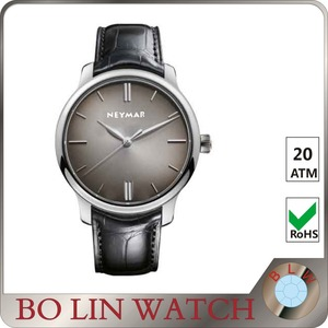 fashion mens aaa quality genuine leather wrist quartz watch with simple white face