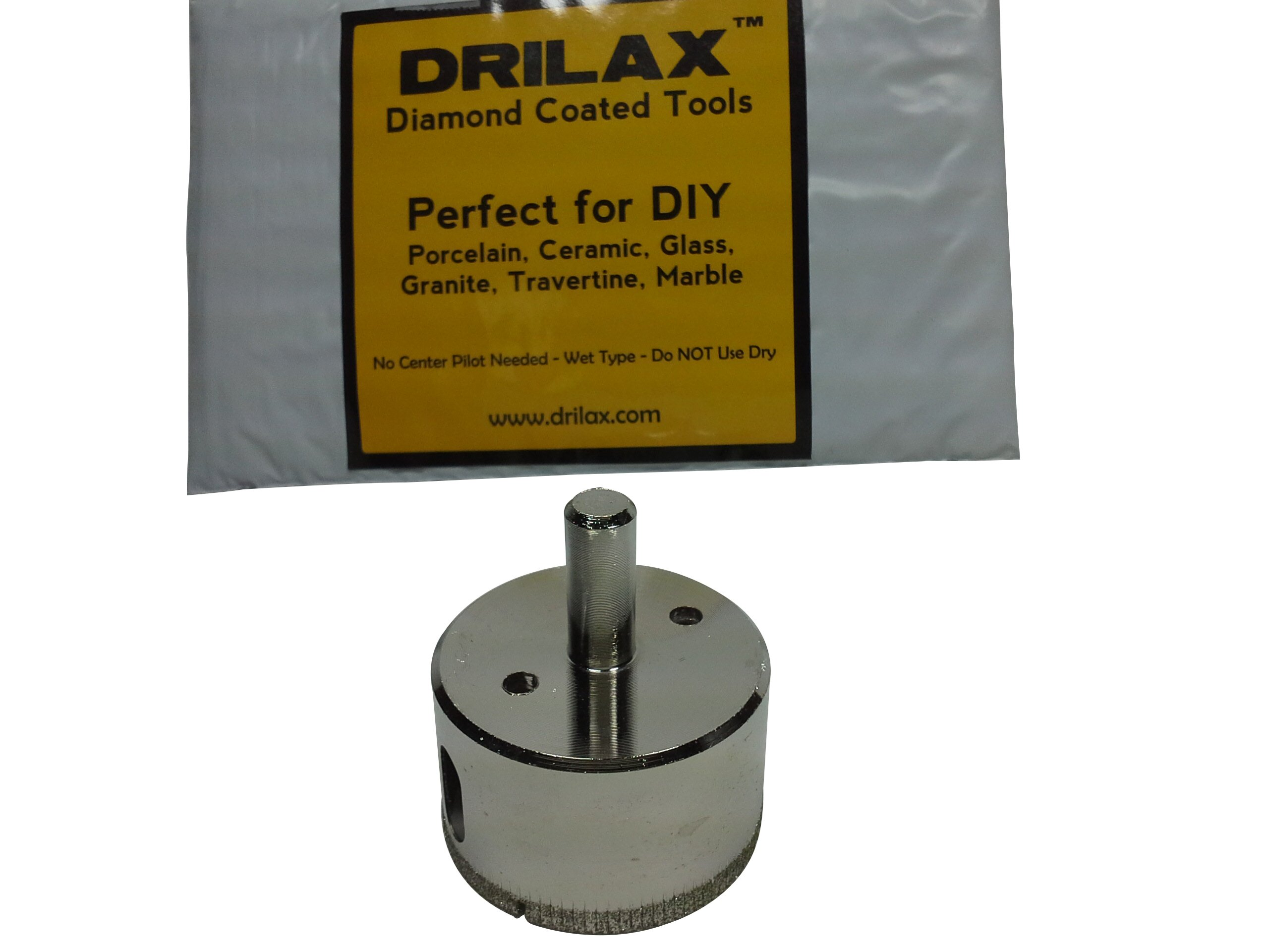 """Drilax 2 Inch Diamond Hole Saw Drill Bit Tiles, Glass, Fish Tanks, Marble, Granite Countertop, Ceramic, Porcelain, Coated Core Bits Holesaw DIY Kitchen, Bathroom, Shower, Faucet Installation Size 2"""""""