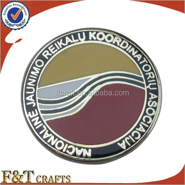 professional enamel metal round pocket custom pin badge