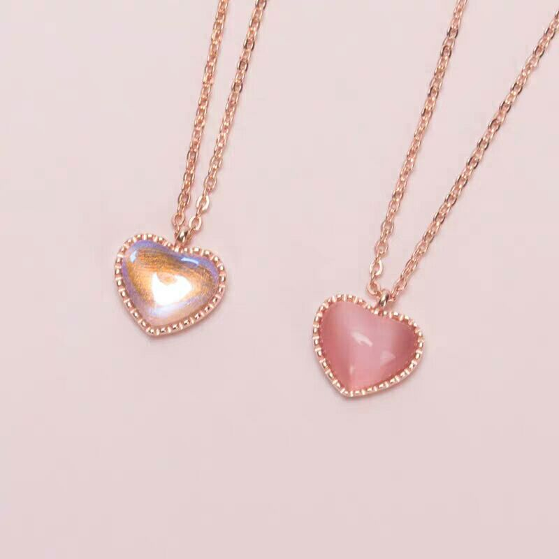 Sri Lanka Moonstone Little red heart Garnet 925 sterling silver pink Aurora Glass Clavicular chain Pendant Necklace