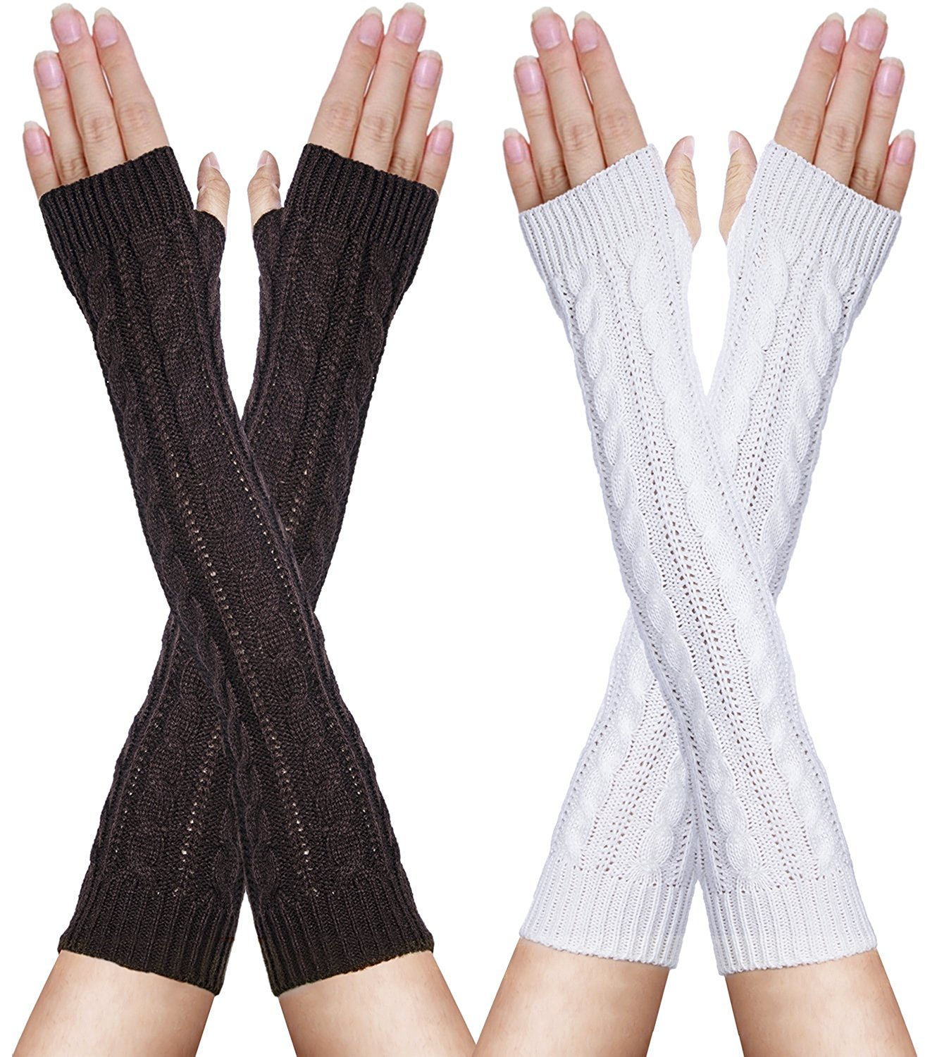 011dcf70c Oryer 2 Pairs Womens Winter Knit Long Fingerless Gloves - Thumbhole Arm  Warmers