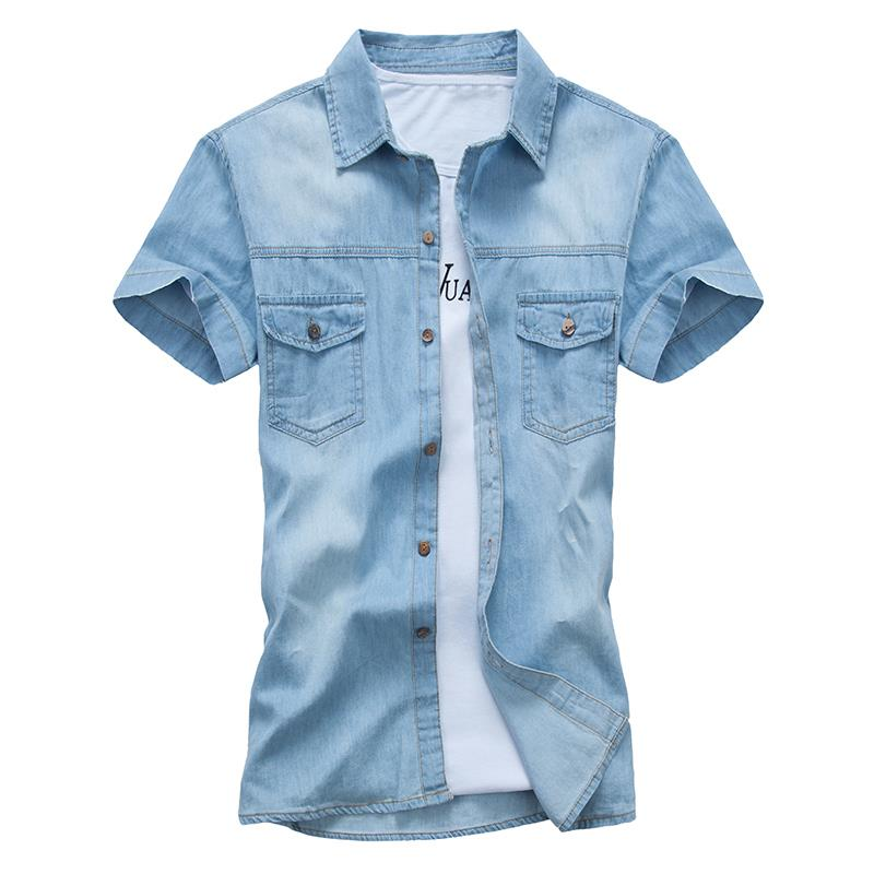 51a6bf4764 Get Quotations · Men s Shirt 2015 Spring Autumn Slim Fit Denim Shirt Men  Casual Shirt Short Sleeve Denim Blouses