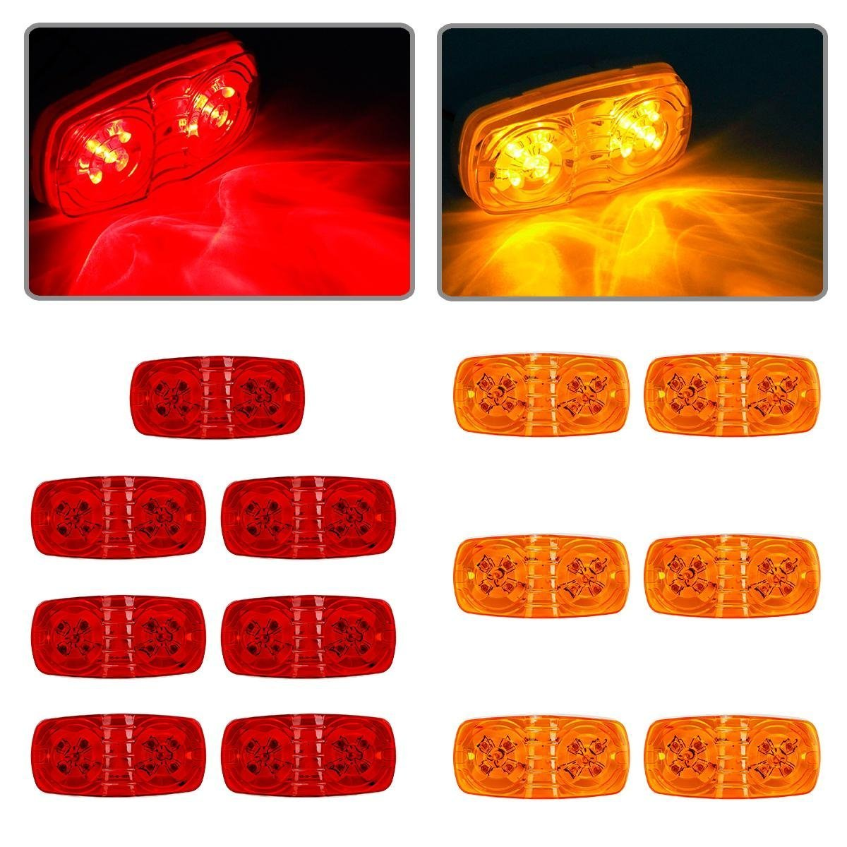 Buy Partsam 13x Trailer Marker Led Light Double Bullseye Amber Red Wiring A With Lights 10led Clearance