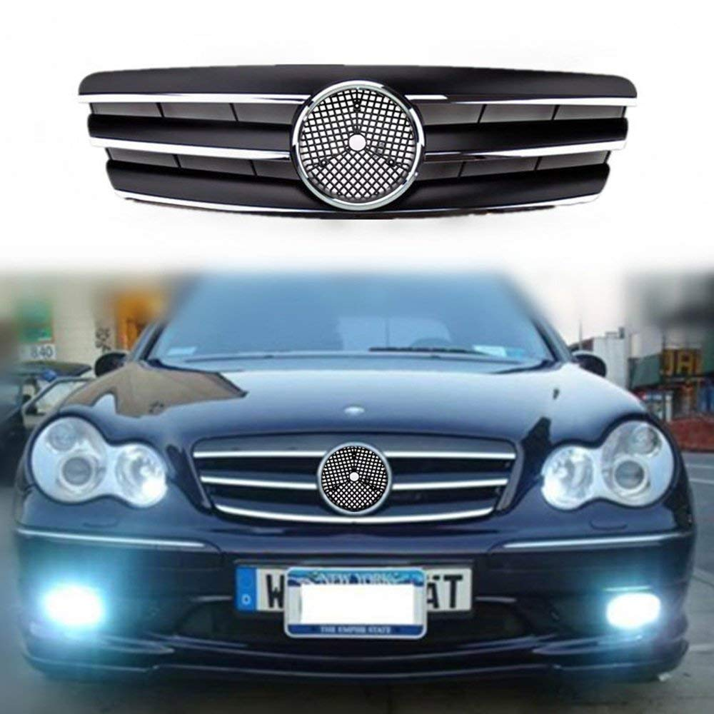 07-09 Gloss Black For Benz W211 E-Class Front Grille 5 Fin