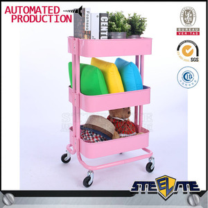 Beauty Salon Spa Shelf Steel Cart New Rolling Trolley Pink