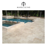 Premium Select French Pattern Ivory Tumbled Travertine Pavers For Pool