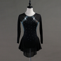 Figure Skating Dress Women Biring Shiny Rhinestone Black Deep Blue Long Sleeve Competition Child Figure Skating Clothes B039