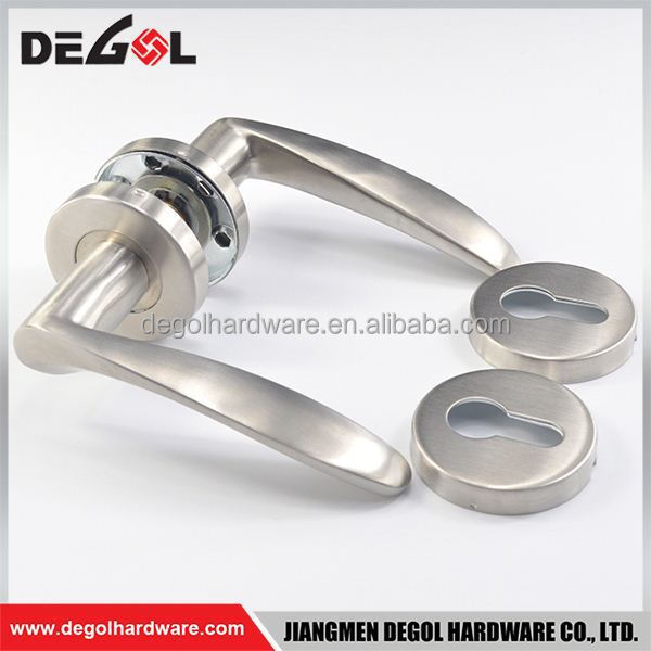 China supplier stainless steel solid lever apartment tube lever brass door handle with rosette