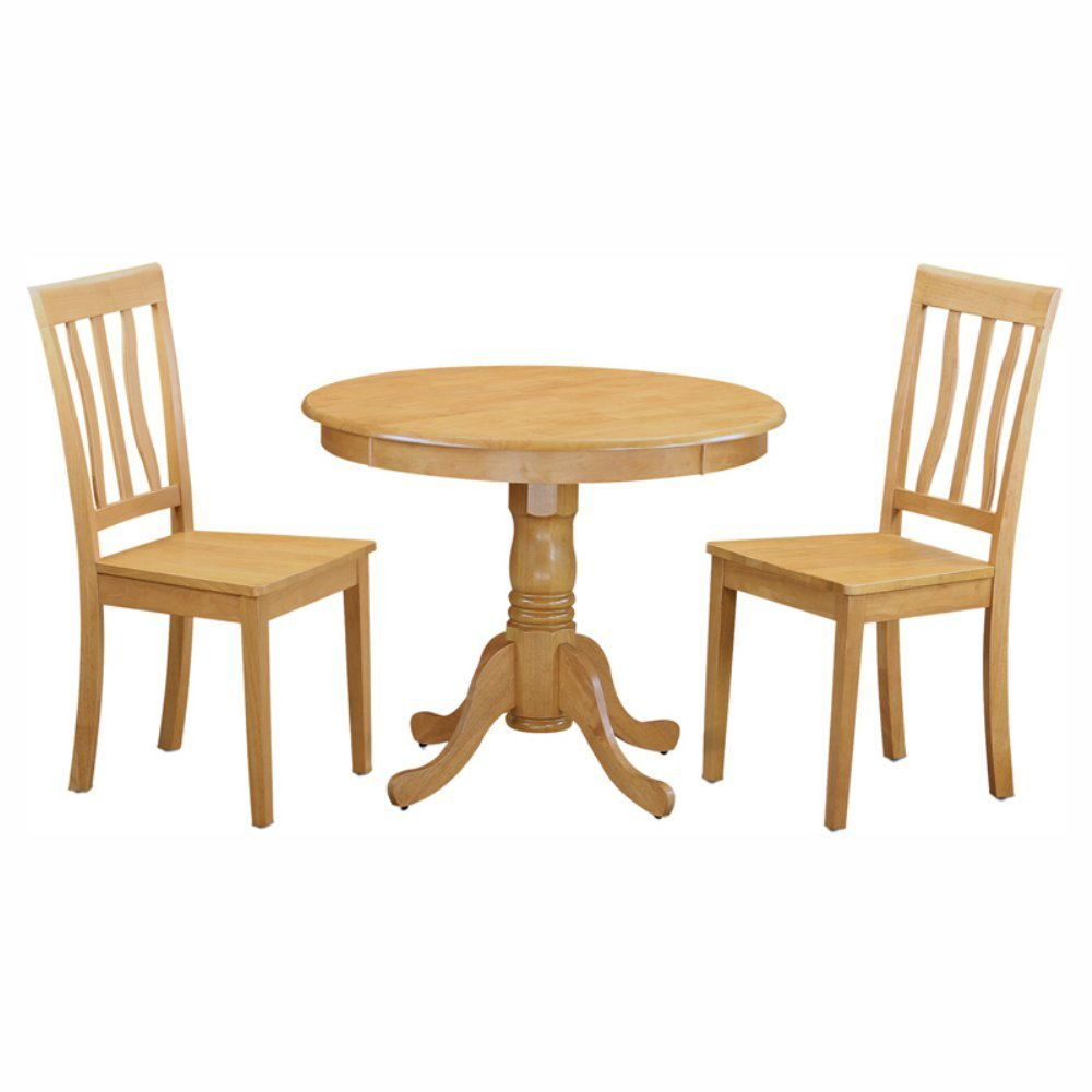 East West Furniture Antique 3 Piece Pedestal Round Dining Table Set with Wooden Seat