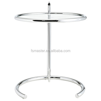 High Adjust Tea Table Double Glass Layers Steel Frame Eileen Gray - Eileen gray end table
