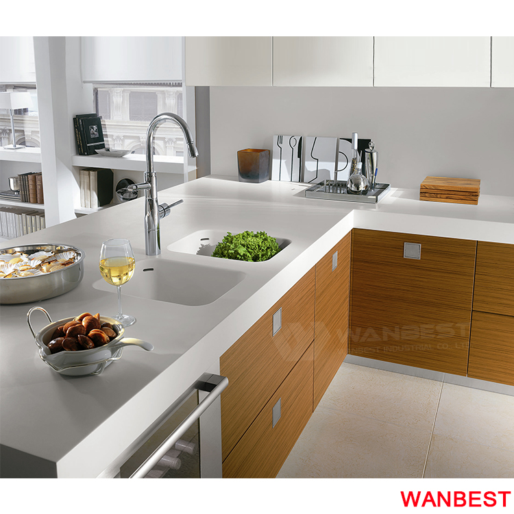 High Gloss Marble Top Wood Kitchen Sink