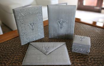 Grey Silk Wedding Embroidered Invitation Folio