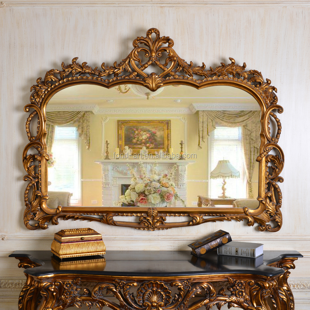 Pu247 antique gold decorative framed wall mirror buy for Fancy mirror
