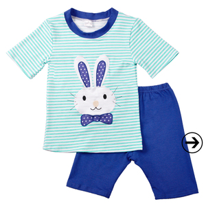 Easter day boys outfit stripe blue bunny embroidery clothes sets wholesale boys clothing
