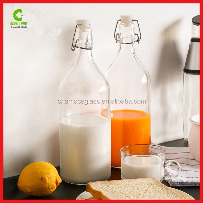 1L Round Swing Top Glass Bottles Swing Clip Top Bottle For Juice Milk